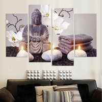4 Piece Canvas Art Wall Modern Printed Buddha Painting Picture Decoration Buddha Paintings Wall Canvas Pictures For Living Room