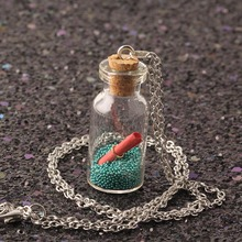 2018 Silver-color Chain Cute Glass Wishing Bottle Pendant Necklaces Special Gift Women Jewelry Long Necklace Love Letter NS2197