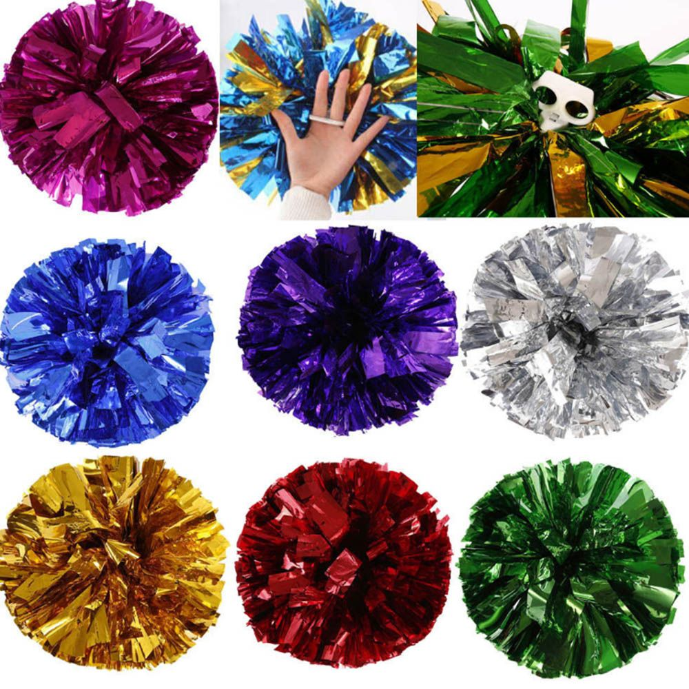 Competition Cheerleading Pom Poms Flower Ball Metallic Foil And Plastic Ring Handheld Cheer Dance Sport Supplies Party Decor