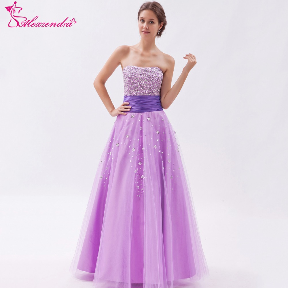 Alexzendra Violet Tulle Beaded Long Prom Dresses Plus Size Simple Strapless Prom Gowns Party Dress