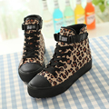 2017 sapatas de Lona de moda feminina leopardo-algodão feito elevador sapatos casuais para as mulheres de alta-top sapatos de plataforma para as mulheres