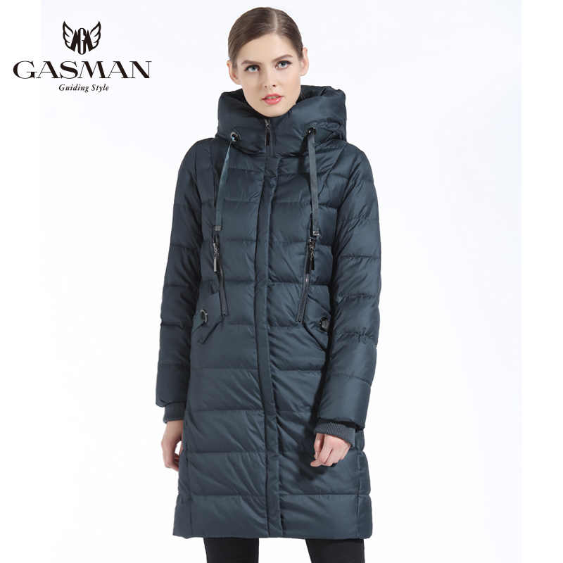 GASMAN 2019 invierno mujer Bio Down chaqueta marca larga abrigo de invierno mujeres con capucha abajo Parka chaqueta de moda nueva colección de invierno