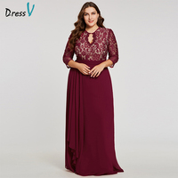 Dressv Burgundy Scoop Neck Plus Evening Dress Elegant 3 4 Sleeves A Line Button Wedding Party