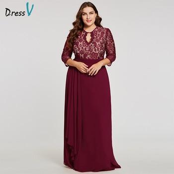 Dressv burgundy scoop neck plus evening dress elegant 3/4 sleeves a line button wedding party formal dress lace evening dresses