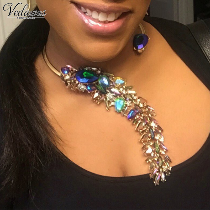 Vedawas 2017 New Fashion Crystal Wedding Party Jewelry Luxury Unique Pendant Statement Necklace Choker Collar Wholesale 2621 joolim jewelry wholesale pink black flower choker collar necklace design jewelry wedding party jewelry drop shipping