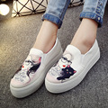 2016 new women's fashion round platform casual canvas shoes, outdoor shoes cute flats Loafer Size35-40