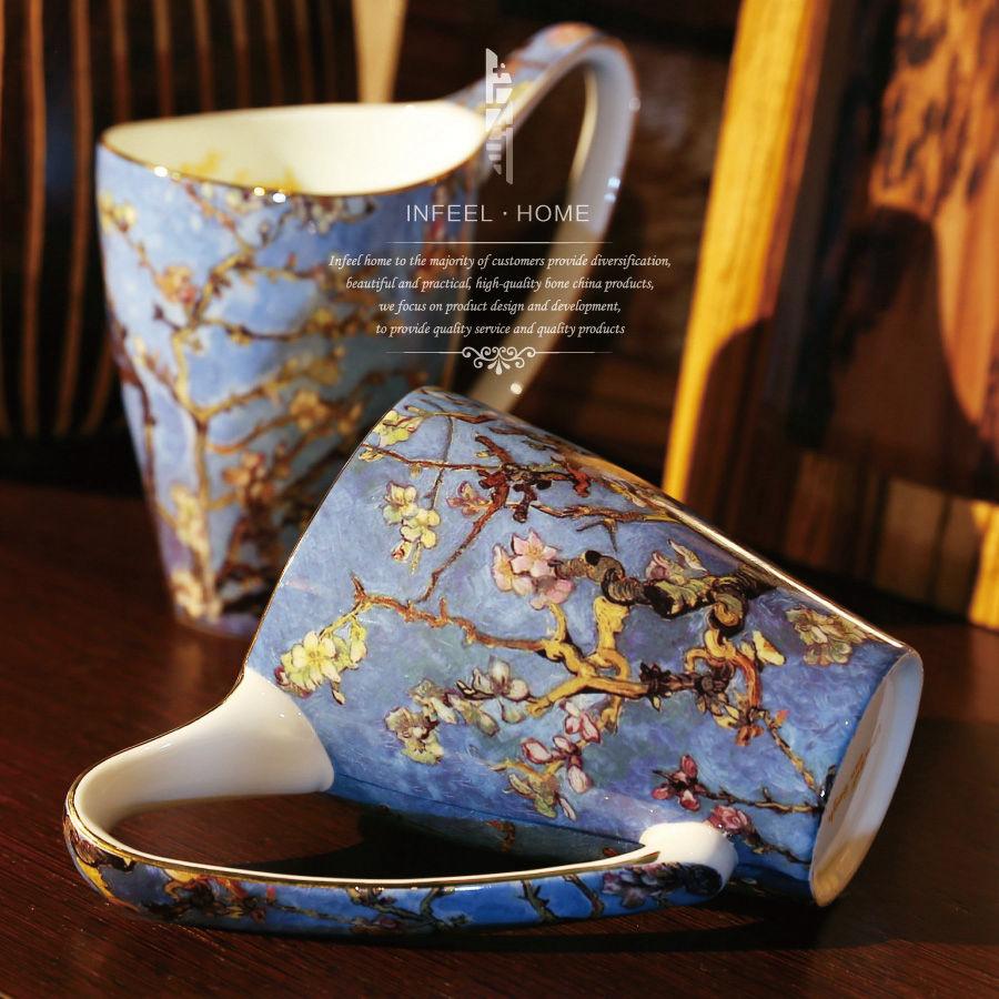 "Free Shipping Continental <font><b>Celebrity</b></font> Paintings, ""Apricot"" Creative Capacity Mug Ceramic <font><b>Cup</b></font> With Cover Bone China <font><b>Cup</b></font>"