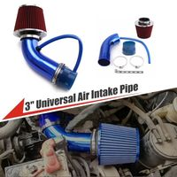 Universal 3 3 inch Car Cold Air Intake Induction Pipe Kit+Red Filter+Clamp Blue