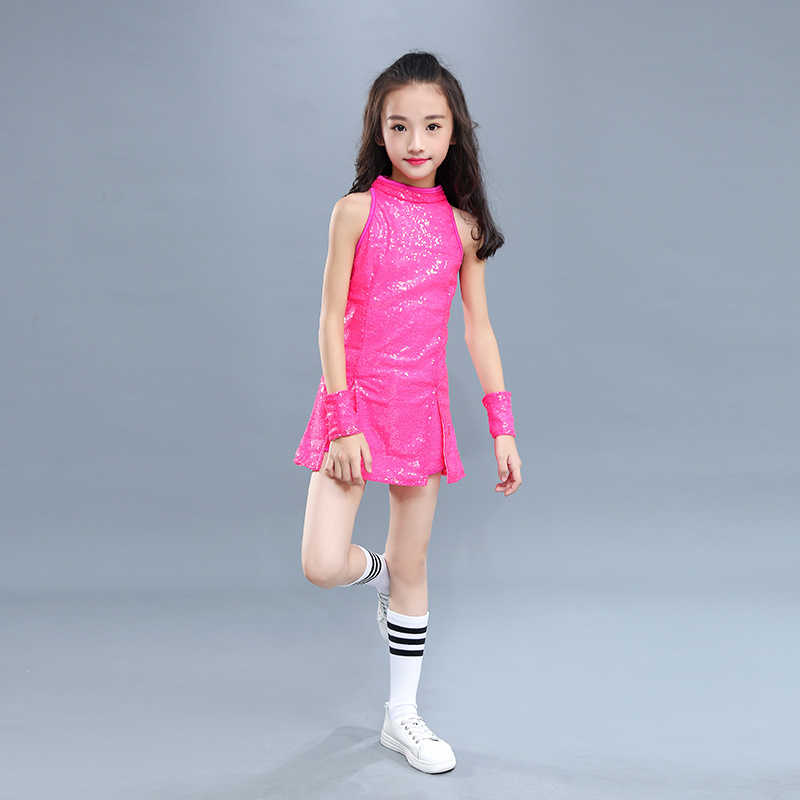 4688f0941b ... Kids Hip Hop Dance Costume Girls Jazz Costumes Street Dance Clothing  Cheerleading Sequin Outfit Vest Shorts ...