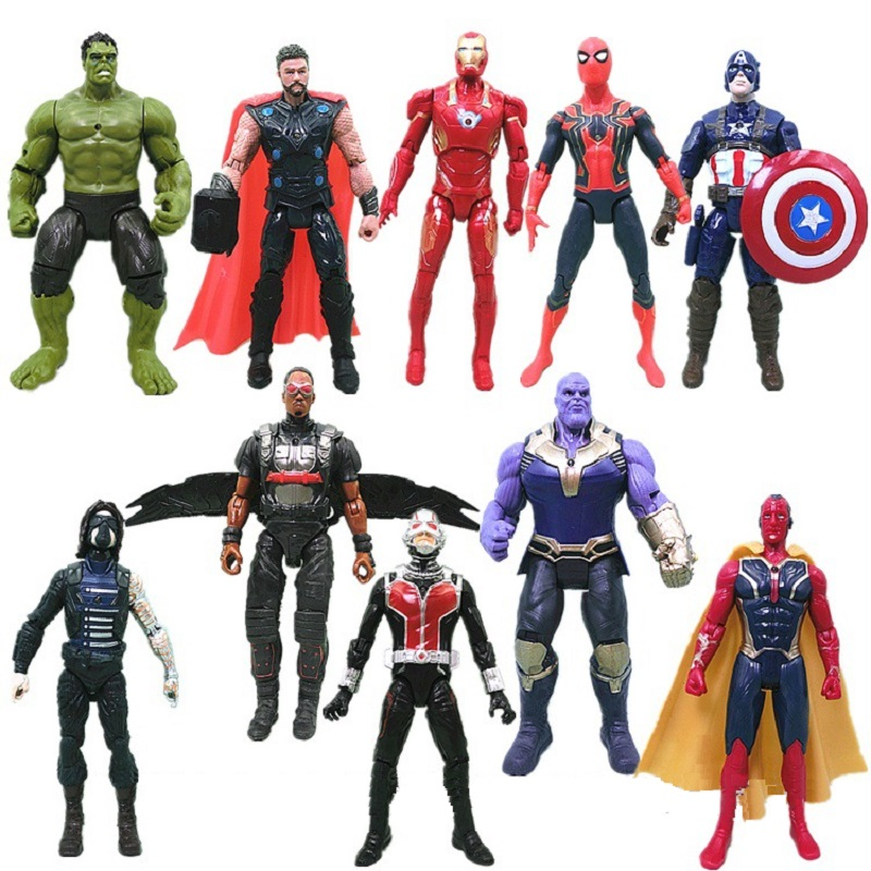 Los Vengadores 3 guerra civil Hulk Iron Man Spiderman Thanos visión Capitán América hombre hormiga Thor Loki PVC figura de acción de conjunto juguetes de los niños