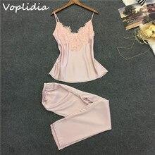 VoplidiaชุดนอนชุดนอนสตรีชุดยาวกางเกงFauxผ้าไหมลูกไม้Vคอชุดนอนชุดชั้นในลูกไม้แขนกุดผู้หญิงชุดชั้นใน