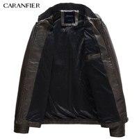 CARANFIER Mens PU Jackets Coats Motorcycle Biker Faux Leather Jacket Men Autumn Winter Clothes Male Classic Thick Velvet Coat 3