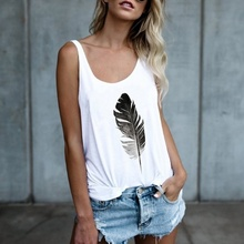 купить Women Top Sexy Womens Graphic Tanks  Fashion Ladies Casual Tops Feather Printed Summer White Plus Size Clothes Harajuku по цене 640.24 рублей