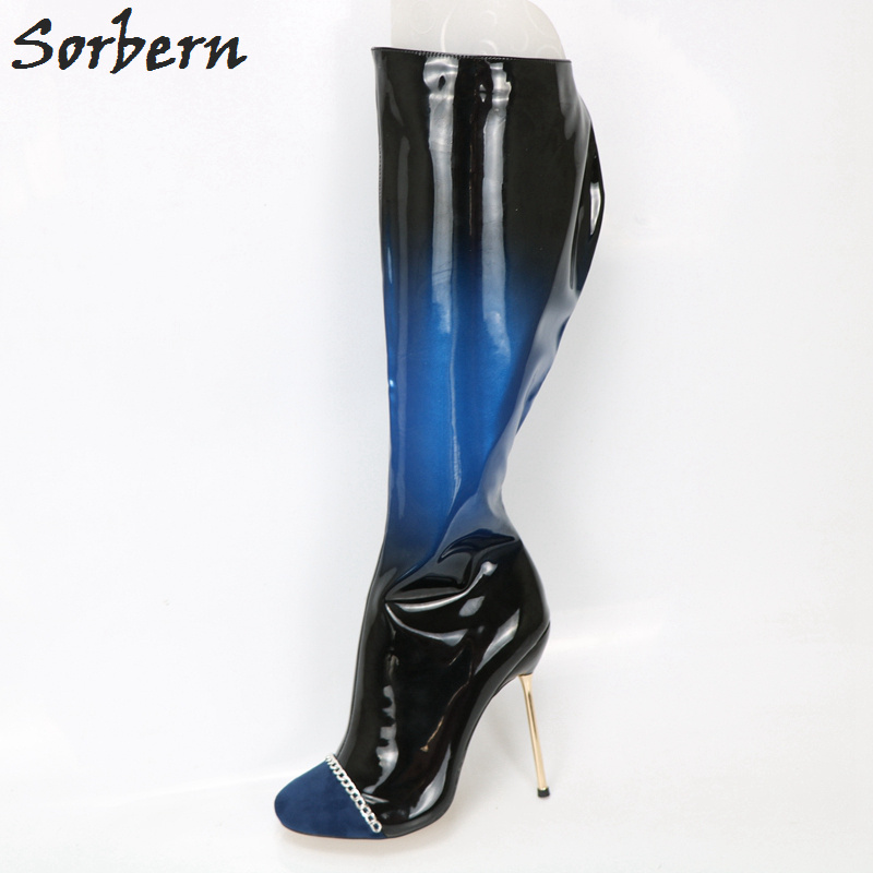 Sorbern Custom Leg Wide Fit Knee High Boots For Women Blue and Black Gradient Metal High Heels Stilettos Chain Round Toe Boots elegant blue plunging neck sleeveless wide leg jumpsuit for women