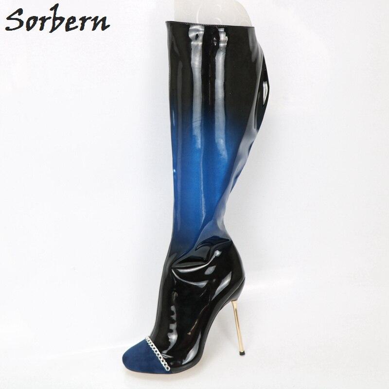 5884fddf772f9 Negro Zapatos Rodilla De Ronda Sorbern Ancho Tacón Color Gradiente Metal  Pierna Para Botas Altas Cadena ...
