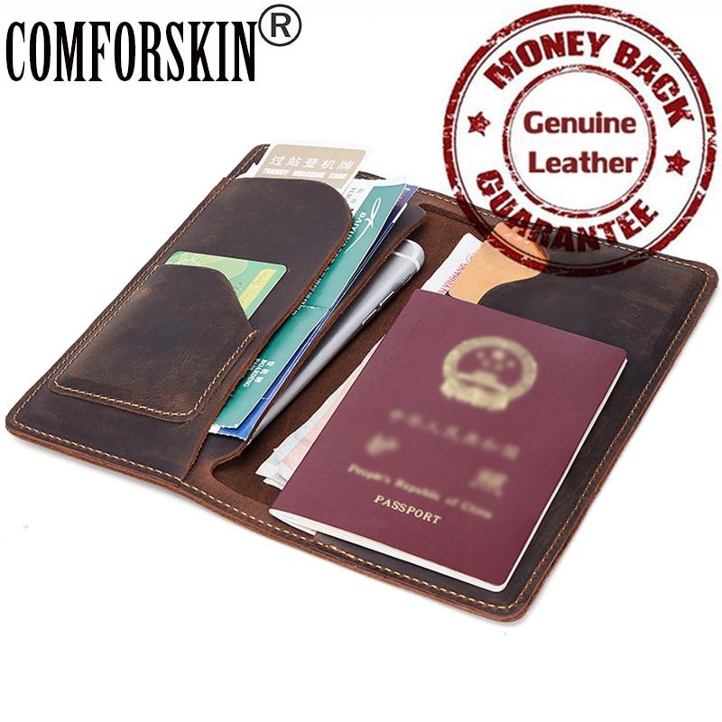Crazy Horse Cowhide Genuine Leather Men Passport Cover 2017 New Arrivals Vintage Men Passport Holders Male Clutch Purses Wallets