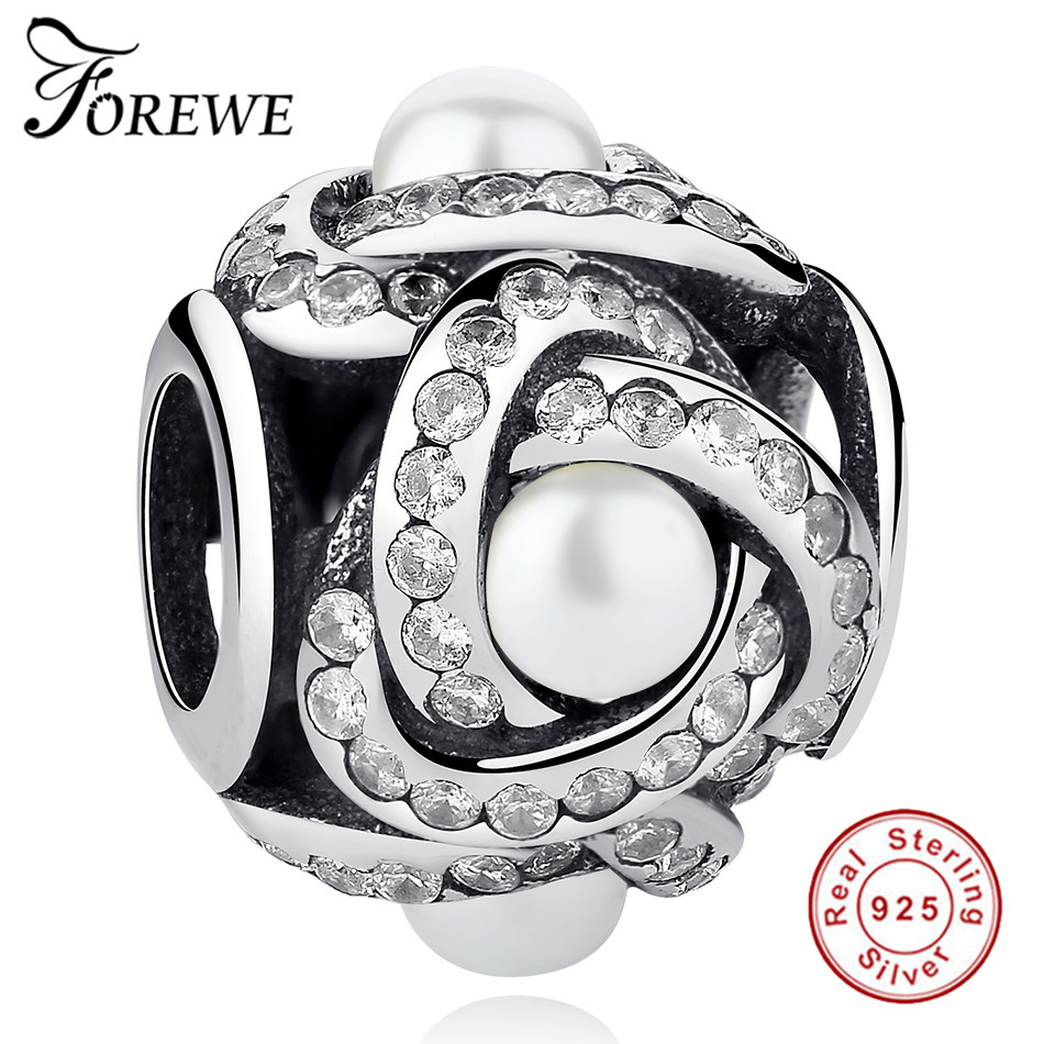FOREWE 925 Sterling Silver Luminous Love Knot, Crystal Pearl & Clear CZ Beads Charms fit Pandora Bracelets Original Jewelry