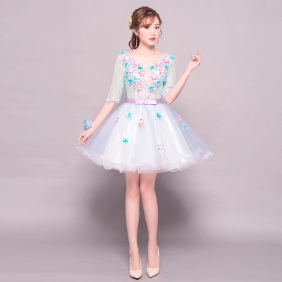 Free ship half sleeve embroidery flowers tutu lovely sleeve short <font><b>lolita</b></font> <font><b>dress</b></font> image