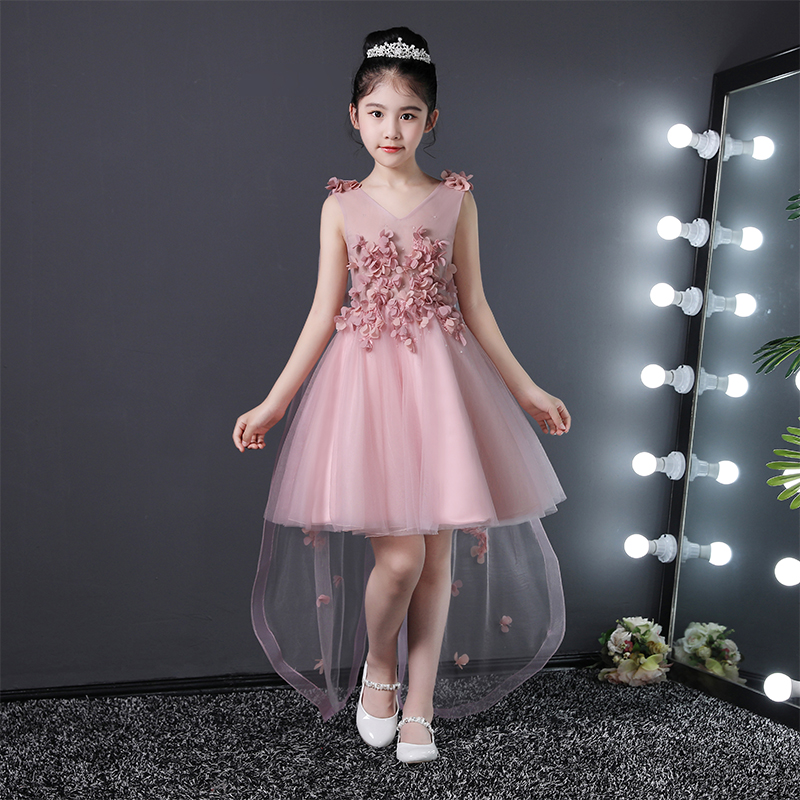 Pink V-neck Princess Formal Dress Party Prom Gowns Knee Length Kids Pagenat Dress Birthday Ball Gown Flower Girl Dresses Wedding girl s formal dress 2018 flower girls wedding dresses cute kids gauze lace party ball gown children s long prom dress pink 3 13y