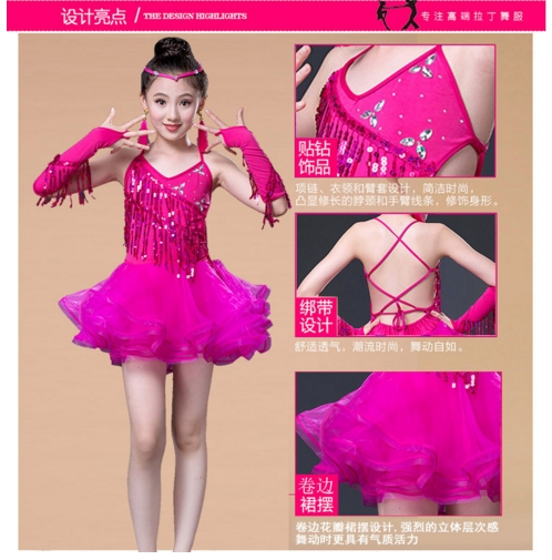 New Sale Junior Child Kids Girls Latin Dance Costumes Sequin Fringe Latin Dance Dress Bachata Latin Salsa Dresses