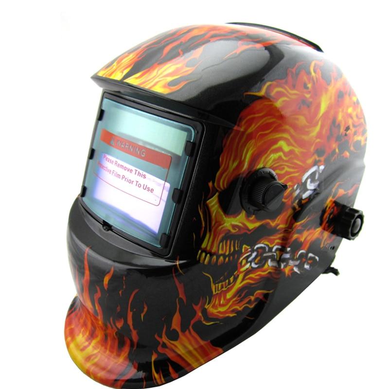 Cheap Nice fire and skeleton apperance Li battery +Solar power auto darkening welding mask/helmet/filter airsoft adults cs field game skeleton warrior skull paintball mask