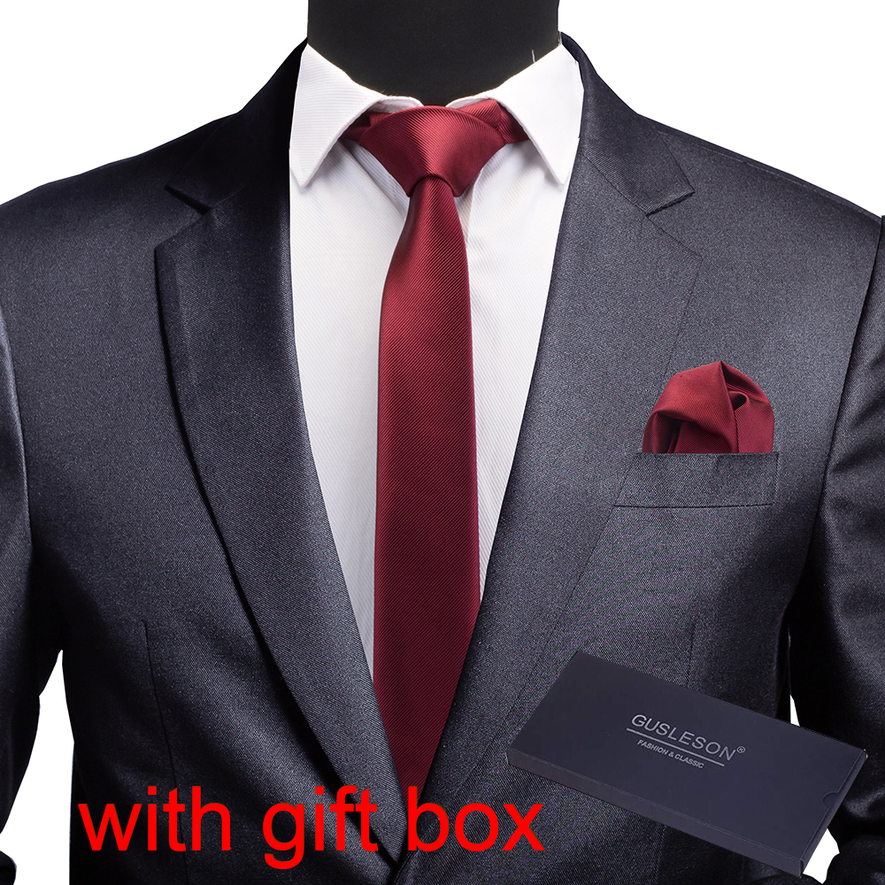 GUSLESON New Quality Slim Men Tie Pocket Square Set 6cm Skinny Necktie Red Yellow Green Ties With Gift Box Suit Wedding Business