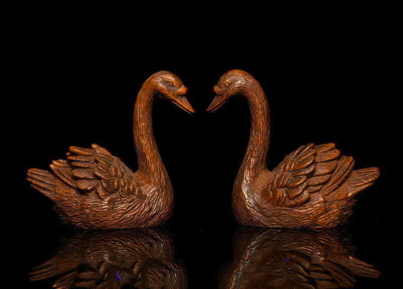 Christmas Collect Chinese Folk FengShui Boxwood Wood Carving goose swan cygnus Statue Pair New YearChristmas Collect Chinese Folk FengShui Boxwood Wood Carving goose swan cygnus Statue Pair New Year