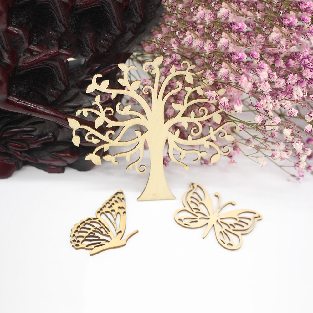 Us 1 14 7 Off 3pcs Set Wood Veneer Tree Butterfly Shape Wood Scrap Scrapbooking Embellishment Diy Wood Crafts Wall Decoration In Embellishments From