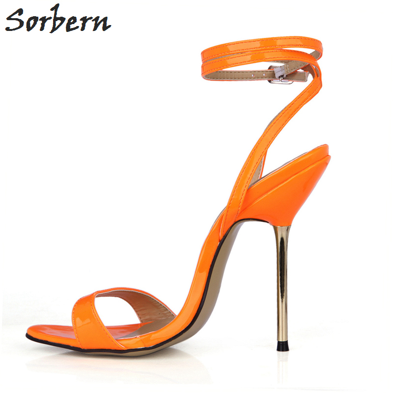 Sorbern Orange Shiny Summer Women Sandals Gold High Heels Shoes Ladies Trendy Women Shoes 2018 Summer Shoes Stilettos - 4