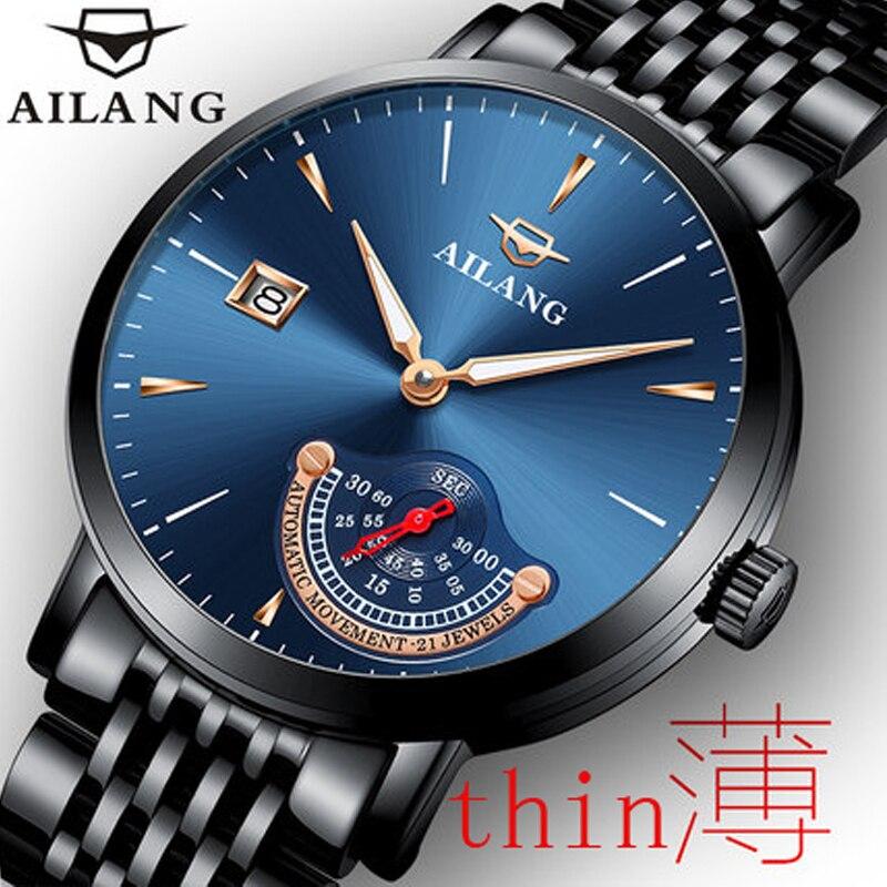 AILANG 2018 top marca de relógios de luxo relógio automático dos homens mostrador preto à prova d' água calendário multi-funcional dos homens mecânicos relógio
