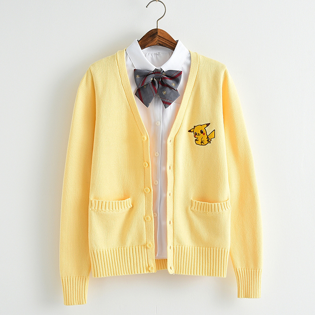 2e03fdadd4eaa6 Japanese JK Knit cardigan sweater Loose Cute yellow Pikachu V neck long  sleeve uniforms cosplay Girl