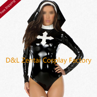 Free Shipping DHL 2016 NEW Long Sleeve Female Nons Costume Cosplay Costume PVC Halloween Zentai Costume For Women
