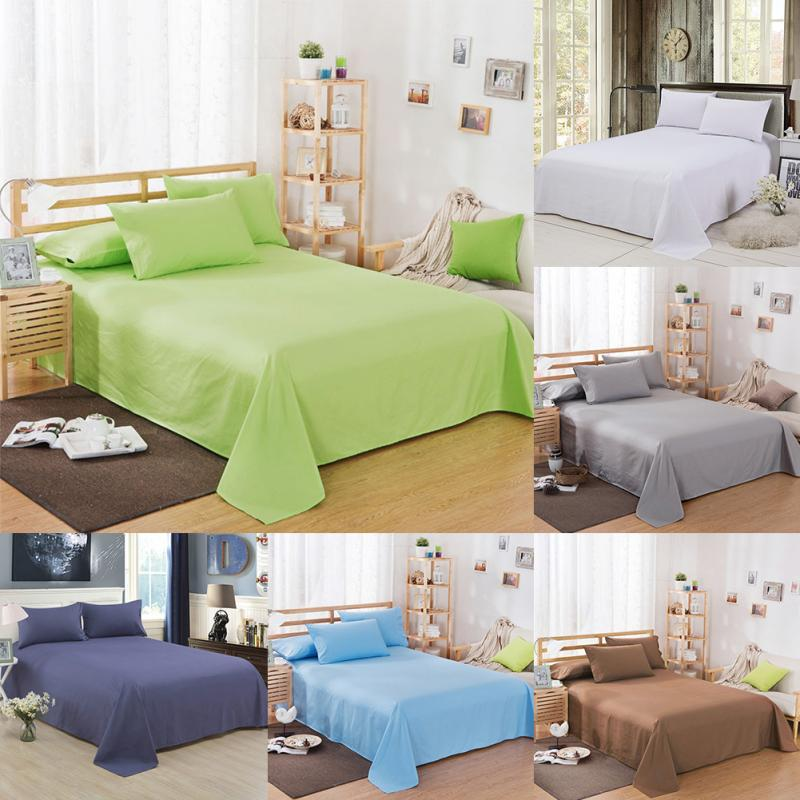 Solid Color Bed Sheet With Pillowcases Bedding Set For Home Hotel Bedding Set
