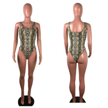 Sexy Snake Print Strapless Night Bodysuit