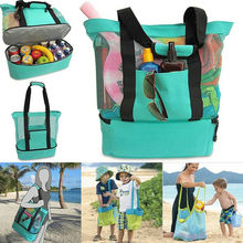 Handheld Lunch Bag Cooler Picnic Mesh Beach Tote Food Drink Storage Double Layer Bags