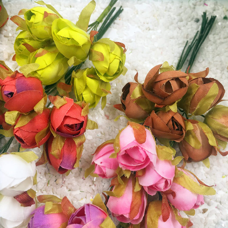 6 STKS / kunstzijde boeketten van rozen kleine knoppen bruiloft - Feestversiering en feestartikelen - Foto 4