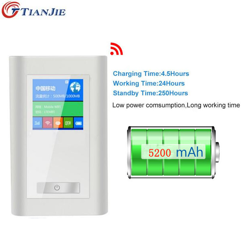 TIANJIE FDD-LTE GSM 4G Wifi Router Portable Global Unlock Dongle Wireless Modem Two SIM Card Slot RJ45 Port 5200 MAh Power Bank original unlock huawei e5573s 606 portable lte fdd mobile wifi 150mbps 4g wireless router with sim card slot plus antenna