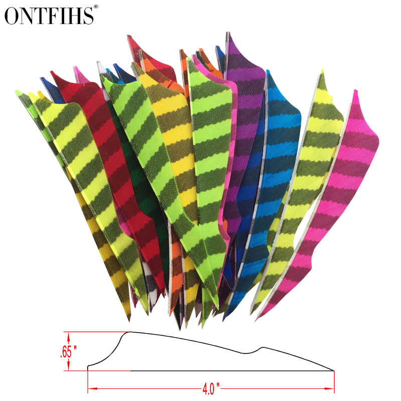 ONTFIHS 50pcs 4 RW Sting Striped One Side Archery Fletches Arrrow Feather Fletching Accessories