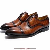 Italian Men Shoes Leather Cap Toe Lace up Derby Shoes Black Brown Luxury Brand Men Formal Shoes Business Office Oxford Men Shoes
