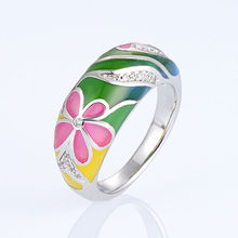font b Rings b font for Woman Colorful Transparency Enamel Flower font b Ring b