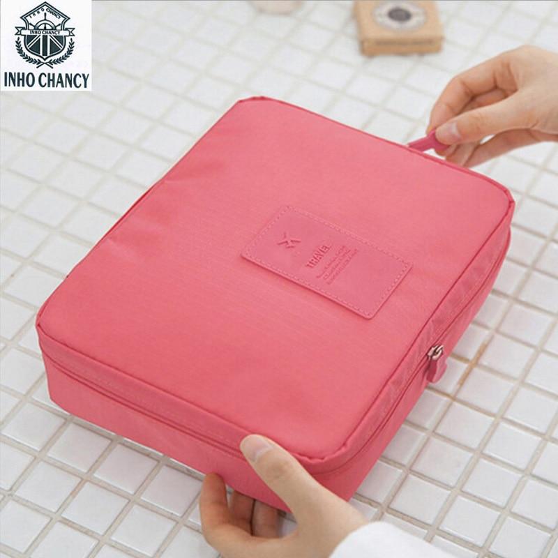 INHO CHANCY Portable Toiletry Cosmetic Bag Nylon Women Makeup Bag Make Up Organizer Toiletry Kits Solid Travel Wash Pouch цена