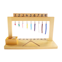 Wooden Math Material Hanger Color Bead Stairs 1 9 Preschool Educational Learning Toys For Children