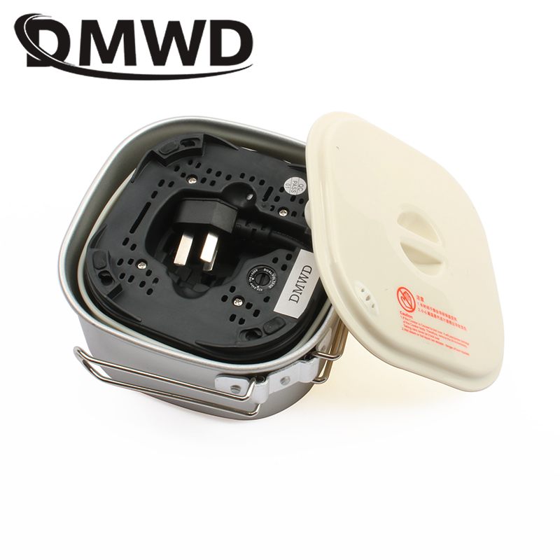 DMWD Dual Voltage Travel rice Cooker Portable Mini Electric stew soup pots cooking Machine Student hotpot food steamer 110V 220V