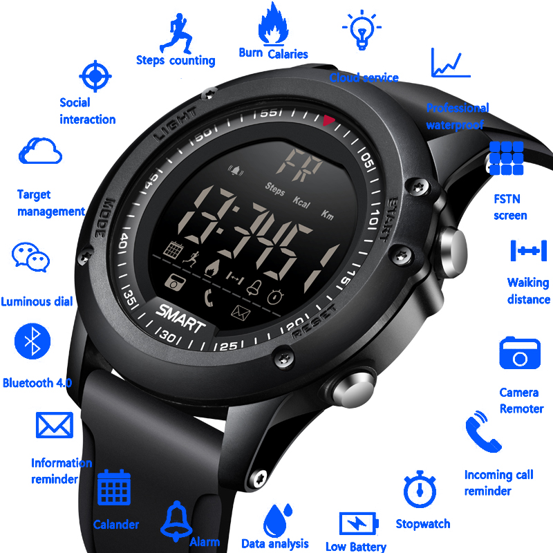 BANGWEI 2018 New Men Digital Electronic Watch Call Information Reminder 50 Meters Depth Waterproof Sport Pedometer Smart Watch bangwei men women smart watch information vibration reminder sedentary reminder music player fashion fitness smart digital watch