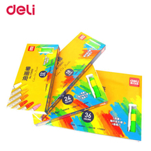 цены Deli non-toxic 12/18/24/36 colors pastel chalk wax crayons for drawing painting school art supplies with sharpener grip kid gift