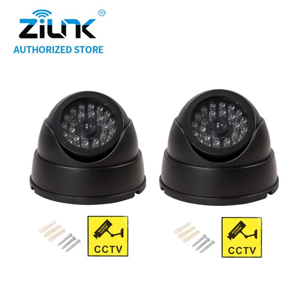 2pcs/bag Dummy Fake Camera Home Surveillance Security CCTV Dome Mini Flashing LED Light Fake Black Simulation Camera Black