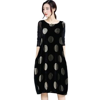 48b9e7b87d718fd 2019 демисезонный Свободное платье для женщин хит цвет горошек бархат платья  для дамы размер плюс, фатин с длинным рукавом vestidos роковой