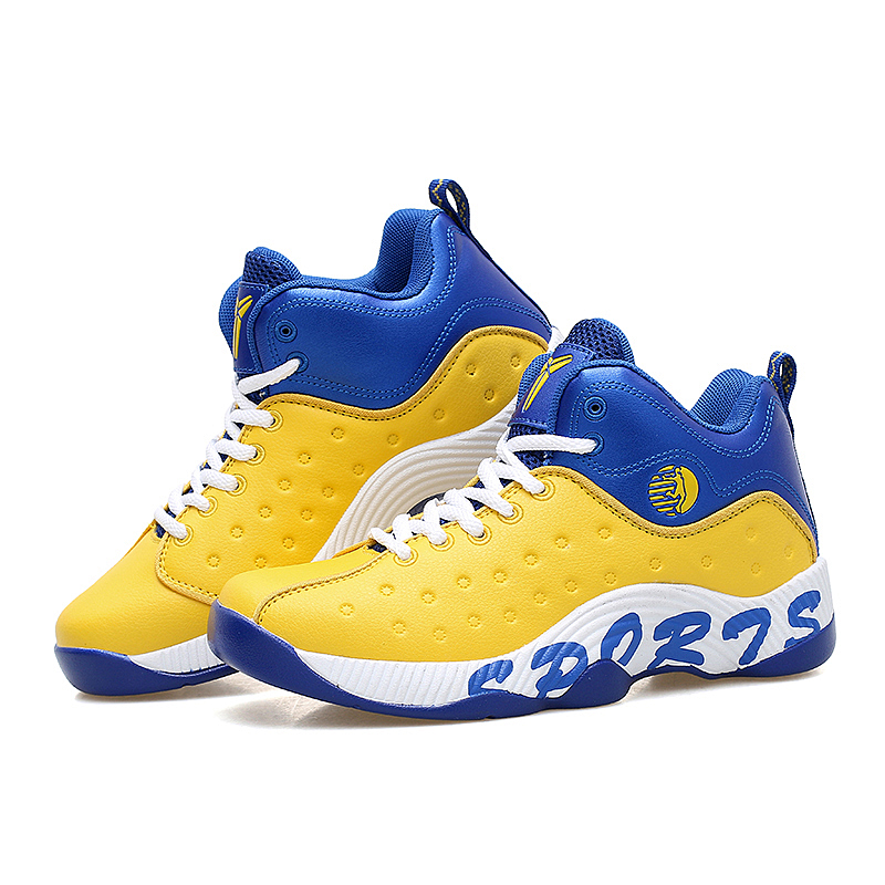 Men Sneakers High Top Basketball Shoes Yellow/Blue Ladies Sneakers Mens Training Shoes  Cheap Boys Athletic Basketball Shoes