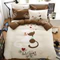 valentine cat bedding set 4pcs duvet/doona cover bed sheet pillow cases queen double full size bed linen