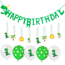 AVEBIEN Dinosaur Theme Party Decoration Bunting Birthday Letter Pull Flower Childrens Room Dress up flag Event Supplies